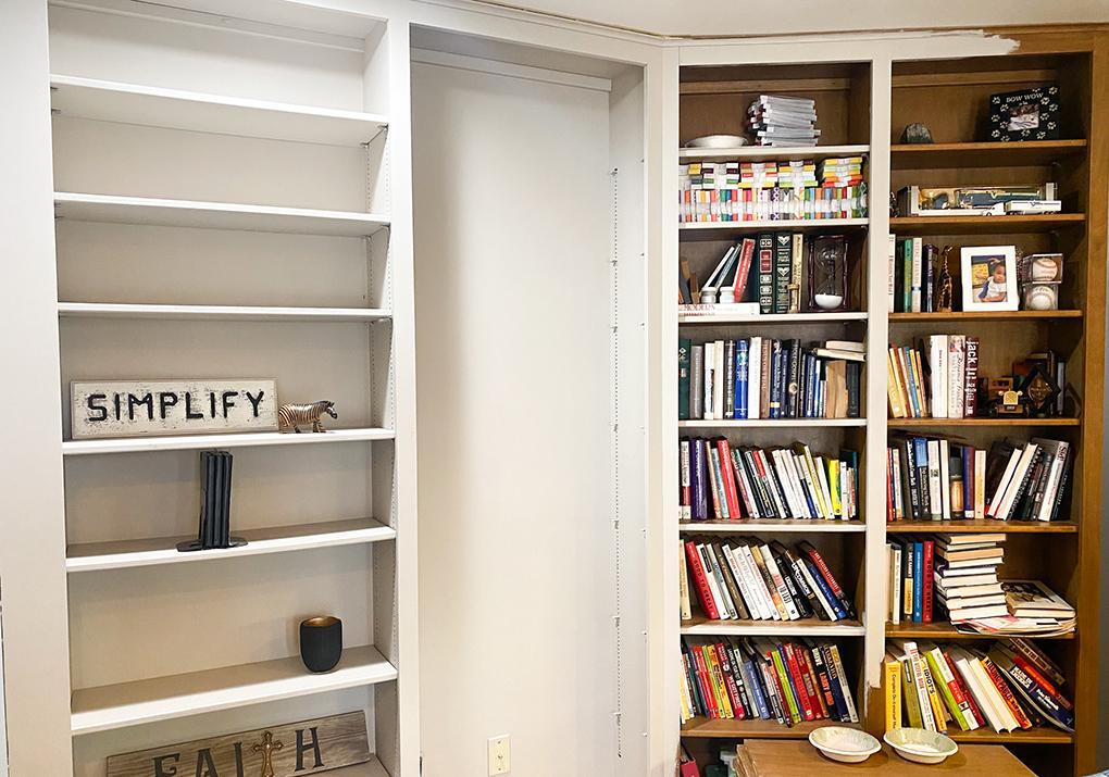 3 Painted Bookshelf athymeformilkandhoney.com #paintedbookshelf #diy #paintedbookshelfdiy
