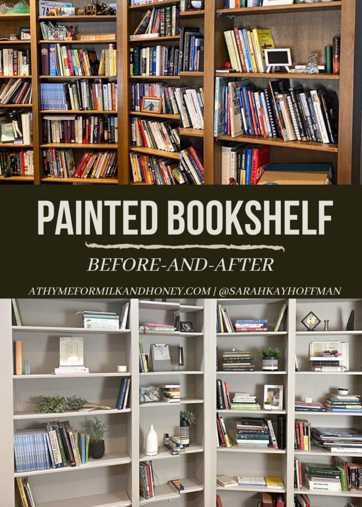 Painted Bookshelf before and after diy farmhouse style athymeformilkandhoney.com #paintedbookshelf #diy #diyprojects #bookcase