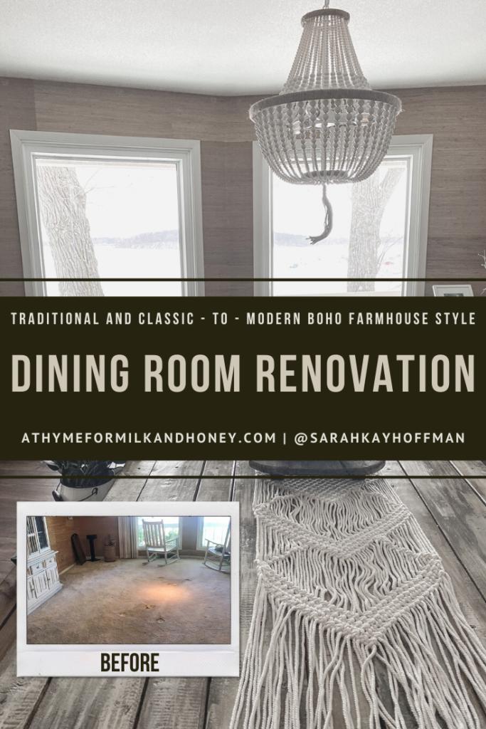 Modern Boho Farmhouse Style dining room renovation athymeformilkandhoney.com #dining #diningroom #diningroomrenovation #boho