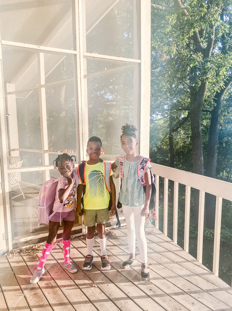 First Day of Kindergarten Amiya, Isaiah, Samarah athymeformilkandhoney.com #kindergarten