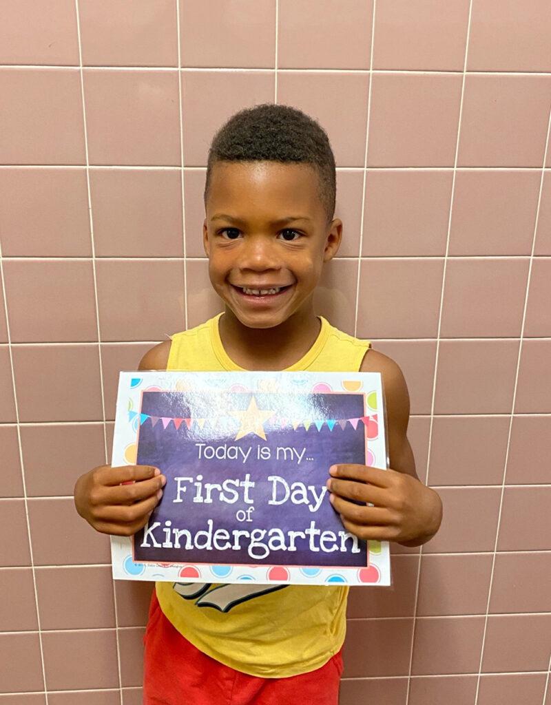 Isaiah's first day of Kindergarten 2021 athymeformilkandhoney.com
