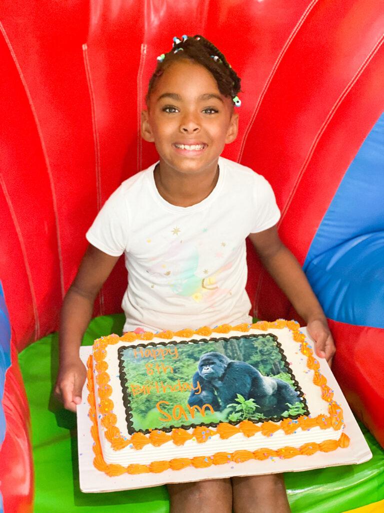 This is Eight athymeformilkandhoney.com #adoption #birthday Sam gorilla cake